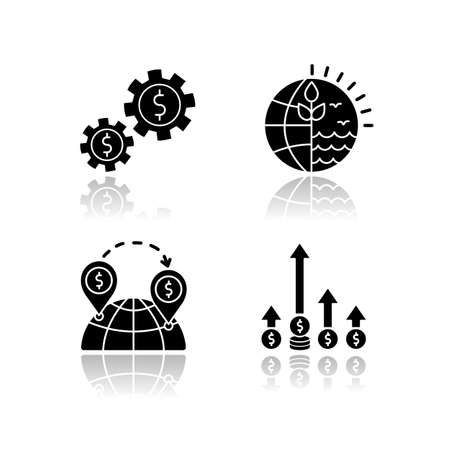 International business, global trade drop shadow black glyph icons set. Assets and natural resources using. Commerce, world trading, competitive edge. Isolated vector illustrations on white space