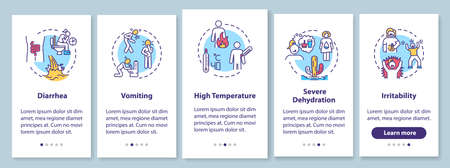 Rotavirus symptoms onboarding mobile app page screen with concepts. Viral infection and food poisoning signs walkthrough 5 steps graphic instructions. UI vector template with RGB color illustrations