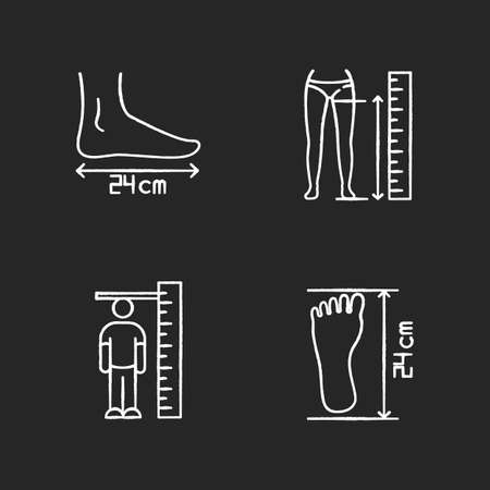 Body measurements chalk white icons set on black background. Inside leg, foot length and human height determination. Bespoke tailoring and shoemaking. Isolated vector chalkboard illustrations Ilustración de vector