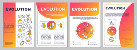 Evolutionary process brochure template. Natural selection, adaptation. Flyer, booklet, leaflet print, cover design with linear icons. Vector layouts for magazines, annual reports, advertising posters