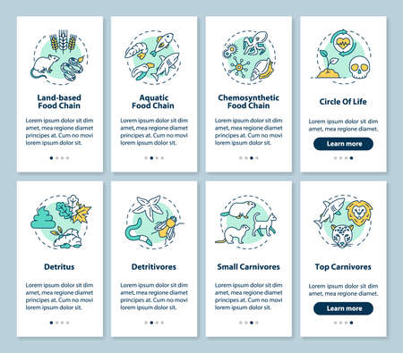Food chains onboarding mobile app page screen with concepts set. Biological process. Ecosystem walkthrough 4 steps graphic instructions. UI vector template with RGB color illustrations