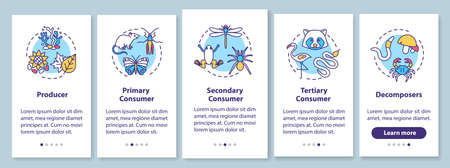 Grazing food chain onboarding mobile app page screen with concepts. Biological energy transferring process walkthrough 5 steps graphic instructions. UI vector template with RGB color illustrations Vektoros illusztráció