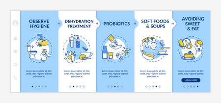 Stomach flu prevention and treatment onboarding vector template. Observe hygiene, avoid sweet and fat. Responsive mobile website with icons. Webpage walkthrough step screens. RGB color concept Vektorové ilustrace