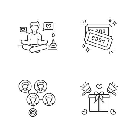 Social media marketing pixel perfect linear icons set. Lifestyle guru. Raffle tickets with numbers. Customizable thin line contour symbols. Isolated vector outline illustrations. Editable stroke