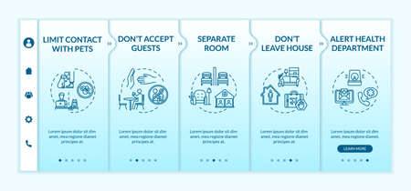 Self-isolation tips onboarding vector template. Staying home, contacts limit, guess accepting prohibition. Responsive mobile website with icons. Webpage walkthrough step screens. RGB color concept