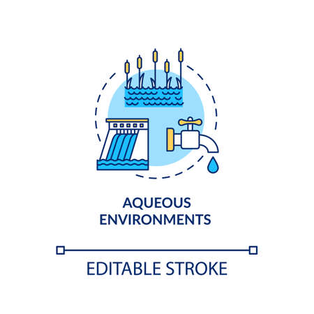 Aqueous environments concept icon. Microorganism transmission through liquid. Pond and dam. Bodies of water idea thin line illustration. Vector isolated outline RGB color drawing. Editable stroke