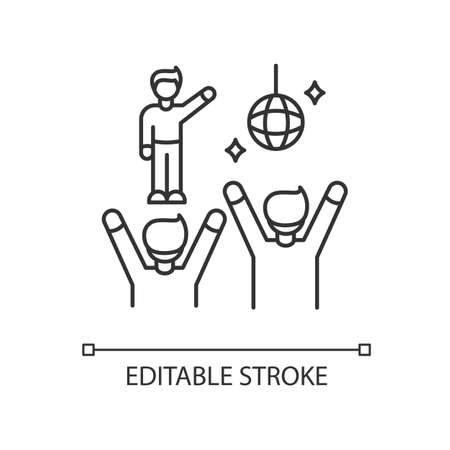 Fan meeting pixel perfect linear icon. Party in disco club. People dancing at celebration. Thin line customizable illustration. Contour symbol. Vector isolated outline drawing. Editable stroke