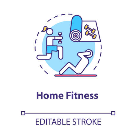 Home fitness concept icon. Sport indoors. Exercise inside house. Physical activity. Quarantine healthcare idea thin line illustration. Vector isolated outline RGB color drawing. Editable stroke