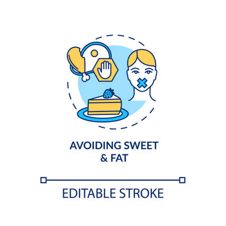 Avoiding sweet and fat concept icon. Stop unhealthy eating. No cholesterol. Diabetes precaution. Healthy diet idea thin line illustration. Vector isolated outline RGB color drawing. Editable stroke