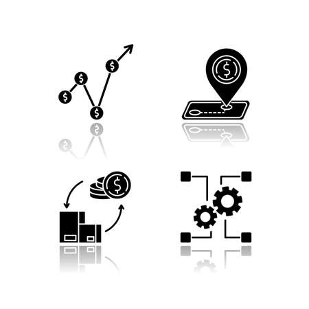 Country economics drop shadow black glyph icons set. Gross domestic product, outsorting and industry development. Tariffs and payments balance. Isolated vector illustrations on white space  イラスト・ベクター素材