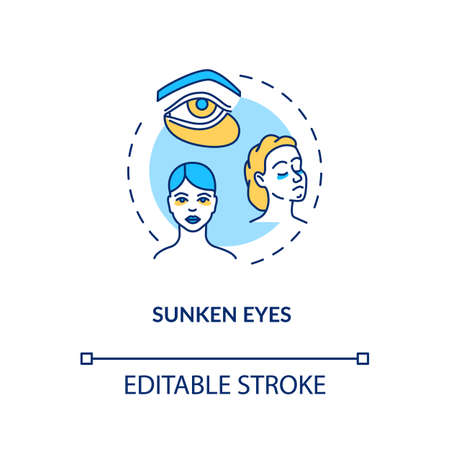 Sunken eyes concept icon. Lack of sleep sign. Dark circles from sleeplessness. Tired woman. Rotavirus symptom idea thin line illustration. Vector isolated outline RGB color drawing. Editable stroke