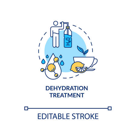 Dehydration treatment concept icon. Restore water balance in human body. Fluid intake, healthcare. Rotavirus aid idea thin line illustration. Vector isolated outline RGB color drawing. Editable stroke