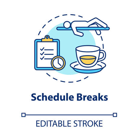 Schedule breaks concept icon. Free time from work. Pause from studying. Overworked employee. Selfcare measure idea thin line illustration. Vector isolated outline RGB color drawing. Editable stroke