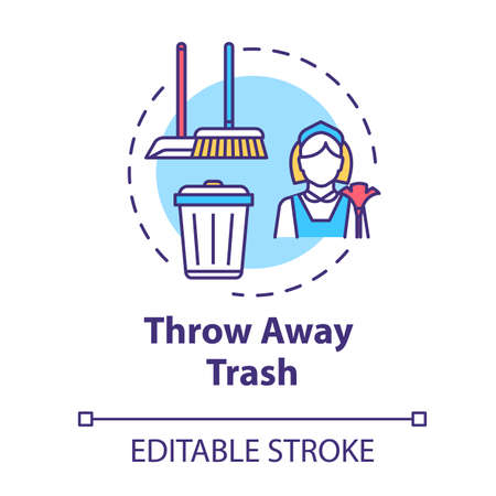 Throw away trash concept icon. Housework and cleanliness. Cleaning house. Put garbage in bin. Housekeeping work idea thin line illustration. Vector isolated outline RGB color drawing. Editable stroke