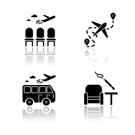Airport terminal drop shadow black glyph icons set. Waiting area for passengers. Aircraft lounge, empty seats. Smoking zone inside. Journey destination. Isolated vector illustrations on white space