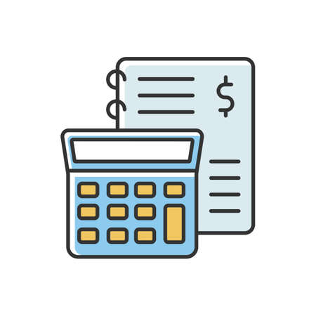 Financial accounting yellow and blue RGB color icon. Inventory management, bookkeeping, audit and report. Income and expenses calculating. Isolated vector illustration