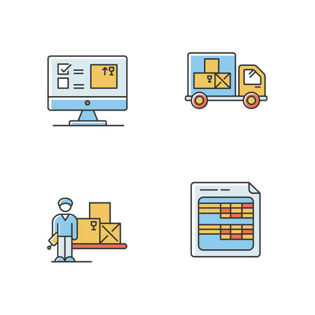 Storekeeping and inventory tracking system RGB color icons set. Goods delivery and receipt, merchandise quantity control database. Accounting software. Isolated vector illustrations Vettoriali