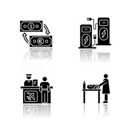 Airport terminal drop shadow black glyph icons set. Money exchange. Self service kiosk. Check in desk for flight. Changing table for mother and baby. Isolated vector illustrations on white space