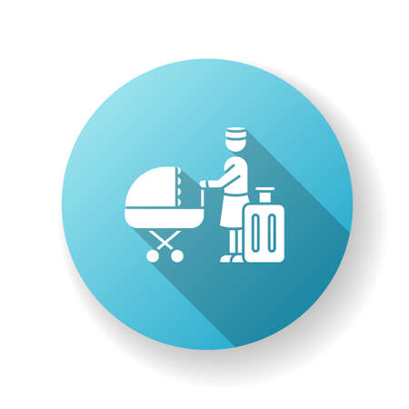 Hotel sitter blue flat design long shadow glyph icon. Babysitting professional service. Help with infant kids while on vacation. Day care during traveling. Silhouette RGB color illustration