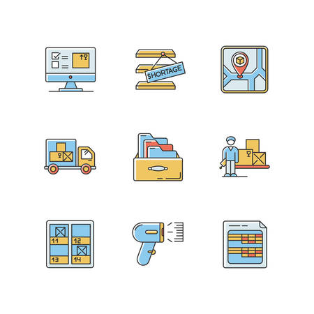 Inventory control and bookkeeping RGB color icons set. Accounting spreadsheets and card system. Storage place, goods shortage and receipt. Isolated vector illustrations