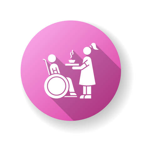 Special needs flat design long shadow glyph icon. Social worker help senior person. Disabled man in wheelchair. Woman feeding hospital patient. Silhouette RGB color illustration