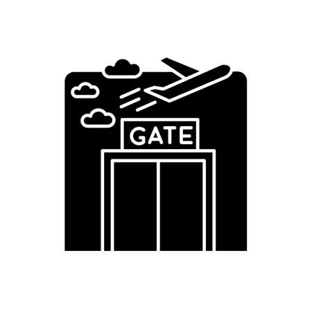 Airport gate flat design long shadow glyph icon. Airplane departure. Window at aircraft lounge. Public airplane trip check. Silhouette symbol on white space. Vector isolated illustration