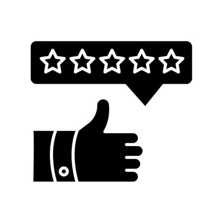 Product review black glyph icon. Thumbs up. Five star film. Excellent quality. Customer satisfaction rate. Assessment and evaluation. Silhouette symbol on white space. Vector isolated illustration Illustration