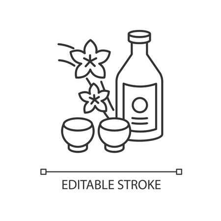 Sake pixel perfect linear icon. Japanese rice wine and sakura branch. Korean soju with two mugs. Thin line customizable illustration. Contour symbol. Vector isolated outline drawing. Editable stroke
