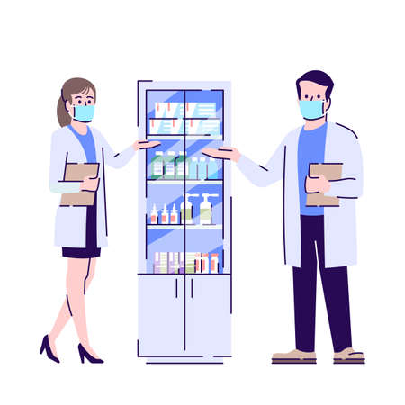 Pharmacy in coronavirus pandemic flat isolated vector illustration. Apothecaries in surgical masks 2D cartoon character with outline on white background. Medical drugs and sanitizers supply Vektoros illusztráció