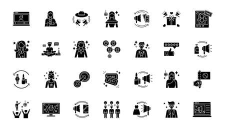 Social media promotion black glyph icons set on white space. Digital marketing with influencers. Product promotion. Loyal audience. Top review. Silhouette symbols. Vector isolated illustration