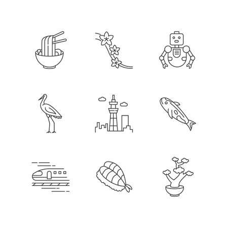 Japan pixel perfect linear icons set. Ramen dish, asian food. Sakura tree. Crane bird. Tokyo sky tree. Customizable thin line contour symbols. Isolated vector outline illustrations. Editable stroke Stock Illustratie