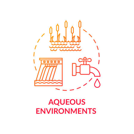 Aqueous environments red concept icon. Microorganism transmission through liquid. Pond and dam. Bodies of water idea thin line illustration. Vector isolated outline RGB color drawing