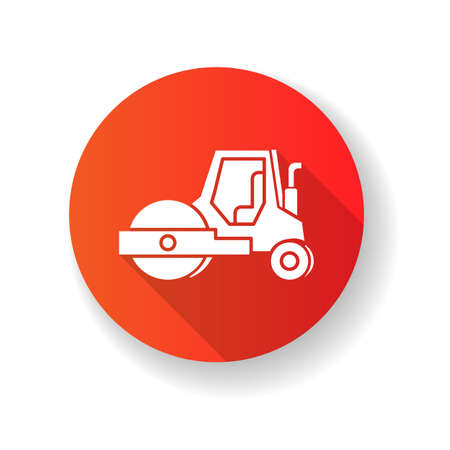 Road roller red flat design long shadow glyph icon. Compactor type vehicle for construction works. Roadworks transportation. Heavy machinery for paving. Silhouette RGB color illustration