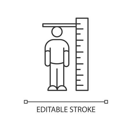 Height measurement pixel perfect linear icon. Thin line customizable illustration. Body size determination. Tailoring, body growth contour symbol. Vector isolated outline drawing. Editable stroke Illustration
