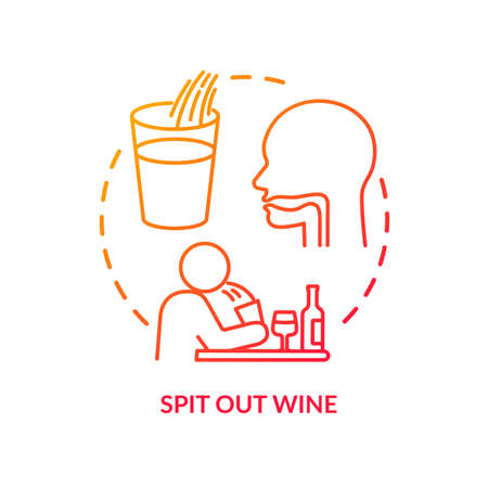 Spit out wine concept icon. Professional sommelier advice, winetasting tips idea thin line illustration. Avoid swallowing at degustation. Vector isolated outline RGB color drawing Иллюстрация