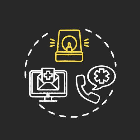 Alert health department chalk RGB color concept icon. Warn hospital. Health care precaution. Call emergency center. Quarantine idea. Vector isolated chalkboard illustration on black background