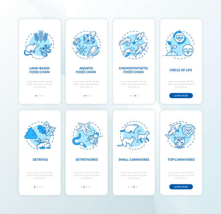 Food web onboarding mobile app page screen with concepts set. Biological process. Ecosystem walkthrough 4 steps graphic instructions. UI vector template with RGB color illustrations