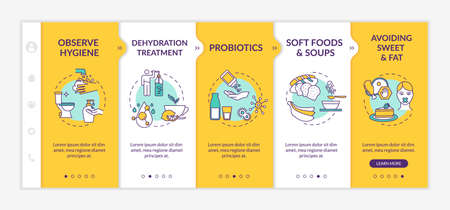 Indigestion prevention and treatment onboarding vector template. Observe hygiene, avoid sweet and fat. Responsive mobile website with icons. Webpage walkthrough step screens. RGB color concept
