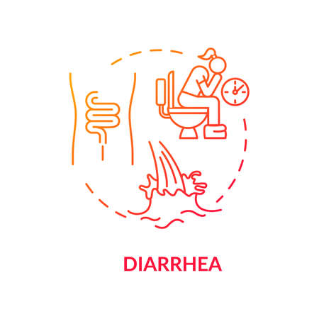 Diarrhea red concept icon. Watery stool. Digestive problem. Disease and illness. Salmonella sign. Rotavirus symptom idea thin line illustration. Vector isolated outline RGB color drawing