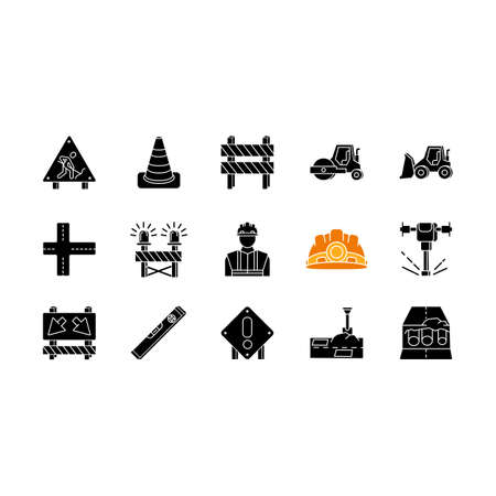 Road works black glyph icons set on white space. Roadsign for construction. Worker in safety helmet. Bulldozer truck. Roller for laying pavement. Silhouette symbols. Vector isolated illustration