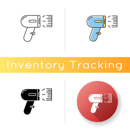 Barcode scanner icon. Asset tracking optical software, data reader. Bar code scanning device, supermarket equipment. Linear, black and RGB color styles. Isolated vector illustrations Vektorové ilustrace