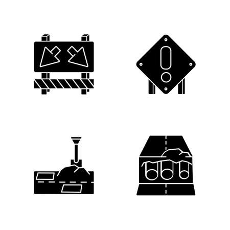 Road works black glyph icons set on white space. Traffic sign for cars to take detour. Attention roadsign. Patching paving. Pipe replacement. Silhouette symbols. Vector isolated illustration Illustration