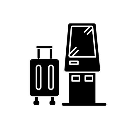 Check in kiosk flat design long shadow glyph icon. Self serving airport terminal. Checked luggage in aircraft. Panel machine for baggage. Silhouette symbol on white space. Vector isolated illustration