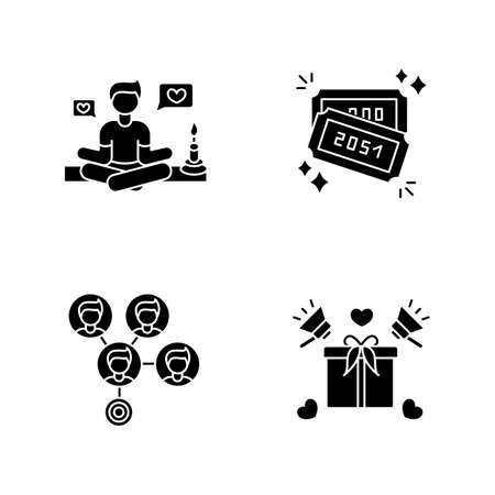 Social media marketing black glyph icons set on white space. Lifestyle guru. Raffle tickets with numbers. Mass effect connection. Product promotion. Silhouette symbols. Vector isolated illustration