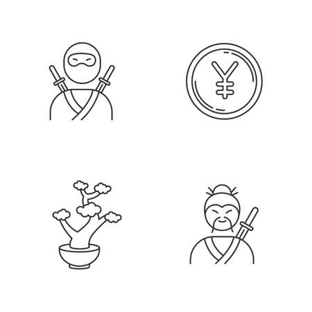 Japan pixel perfect linear icons set. Ninja warrior. Yen coin. Bonsai tree. Traditional japanese symbols. Customizable thin line contour symbols. Isolated vector outline illustrations. Editable stroke