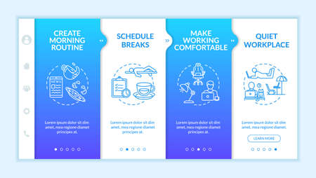 Home office, remote work tips onboarding vector template. Morning routine creating, breaks, quiet workplace. Responsive mobile website with icons. Webpage walkthrough step screens. RGB color concept
