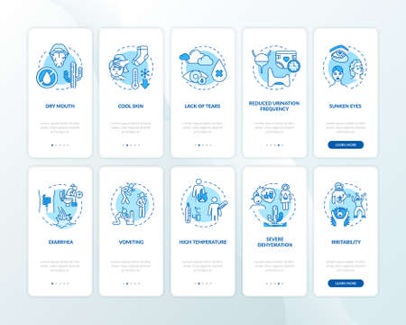 Rotavirus symptoms onboarding mobile app page screen with concepts set. Infection and food poisoning signs walkthrough 5 steps graphic instructions. UI vector template with RGB color illustrations