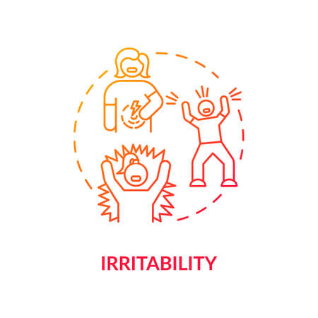 Irritability red concept icon. Stress and anxiety. Furious girl. Frustrated employee. Angry person. Rotavirus symptom idea thin line illustration. Vector isolated outline RGB color drawing