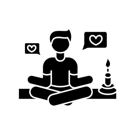 Lifestyle guru black glyph icon. Person in meditation pose getting likes. Harmony and stress relief. Life coach. Zen and yoga. Silhouette symbol on white space. Vector isolated illustration