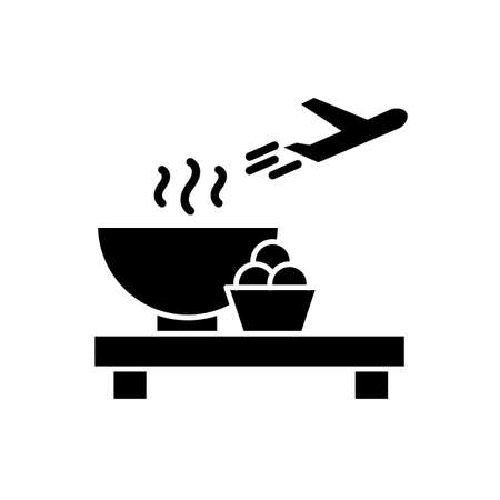 Airport restaurant flat design long shadow glyph icon. Serving food in aircraft terminal cafe. Eat at cantine before airplane flight. Silhouette symbol on white space. Vector isolated illustration Vectores